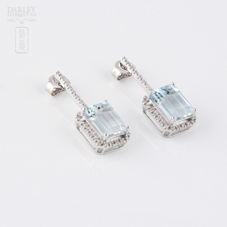 Earrings 4.55 cts Aquamarine and diamonds in 18k white gold - 2