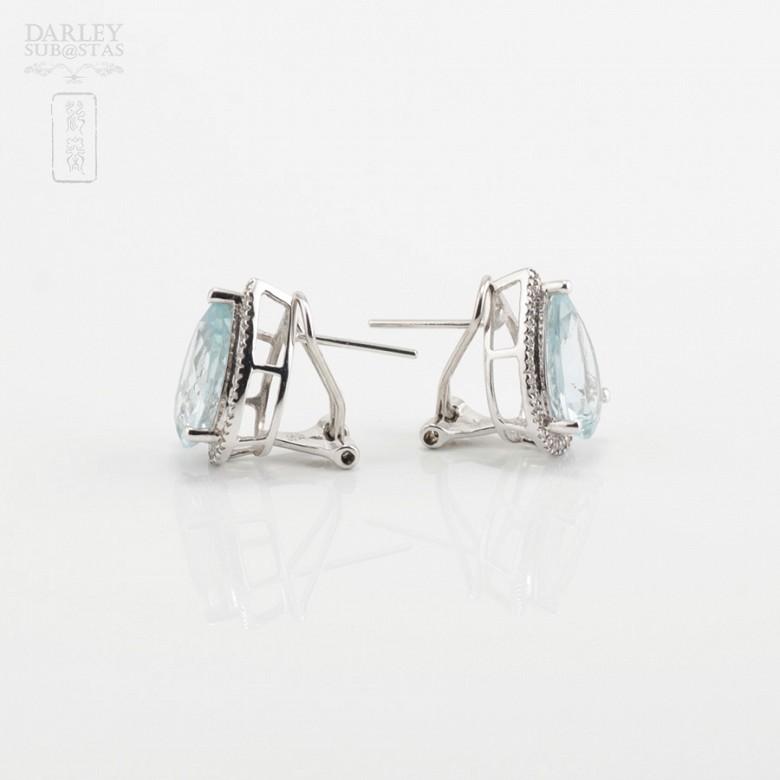 4.81克拉海蓝宝石配钻石18K白金耳环 - 2