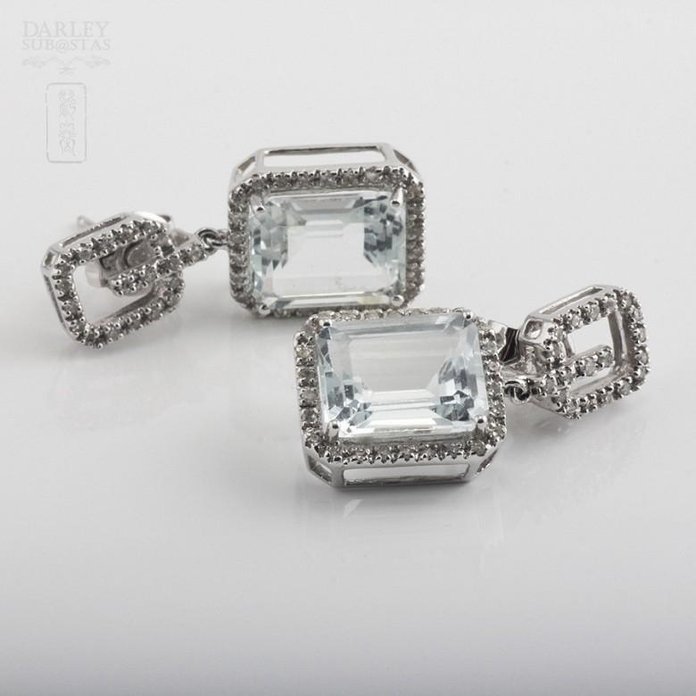 6.45克拉海蓝宝石配钻石18K白金耳环 - 1