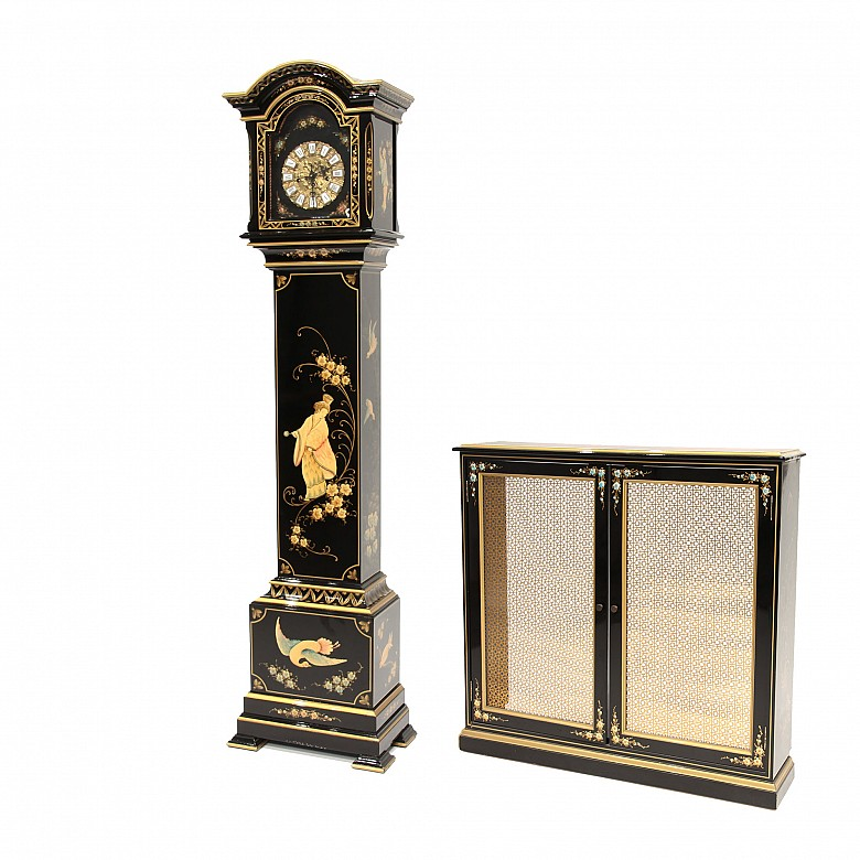 A group of a Grandfather clock and a radiator cover, 20th century