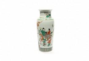 Jarrón Xiangtuiping de porcelana china familia verde. s.XX.