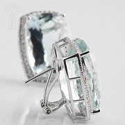 earrings with aquamarine 36.29cts and diamond in white gold - 3