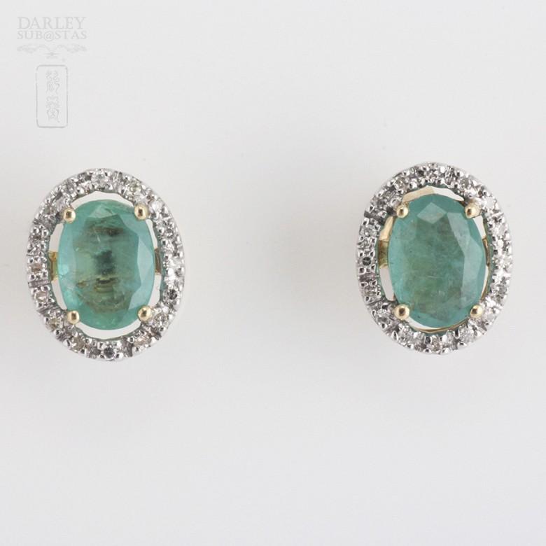 18k黄金镶祖母绿钻石耳环 - 1