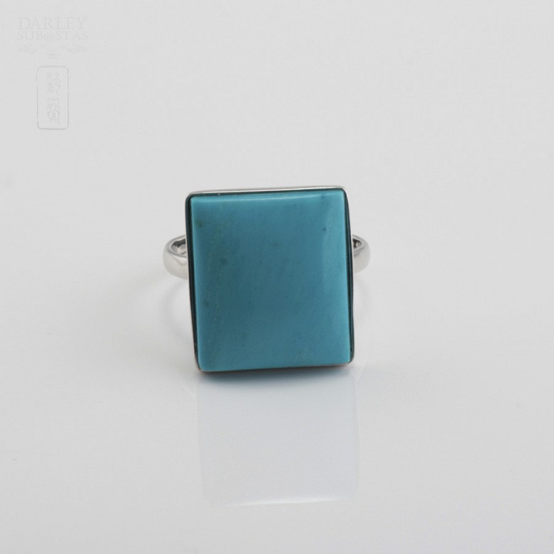Ring Natural Turquoise  in 18k White Gold - 4
