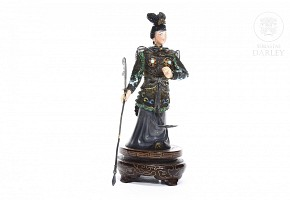 Chinese warrior sculpture in silver and enamel.