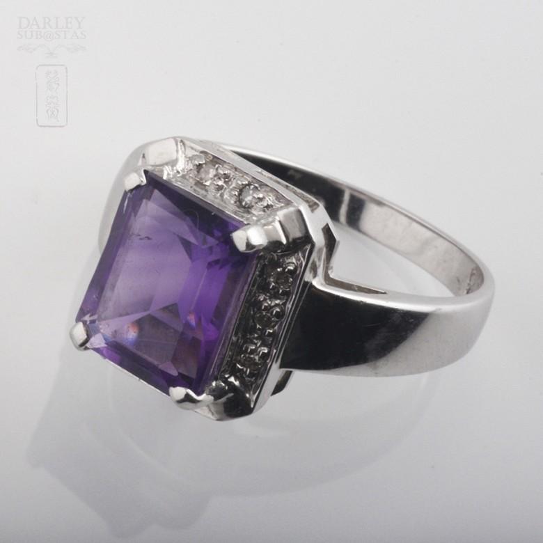 3.30克拉天然紫晶配钻石18K白金戒指 - 1