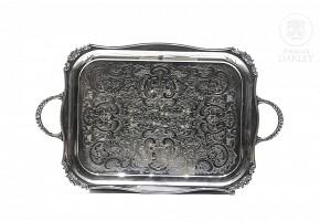 Alpha plated metal tray, Sheffield, 1925.