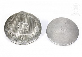 Silver-plated metal powder boxes, 20th century