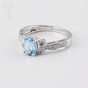 Ringwith topaz 1.03 cts and  diamonds in 18k white gold - 2