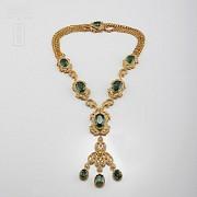 Aderezo de Fallera verde Esmeralda y dorado - 9