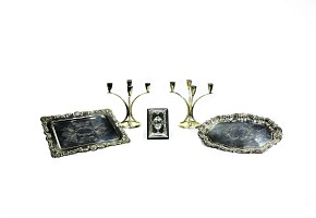 Set of five silver objects, nid. 20th century