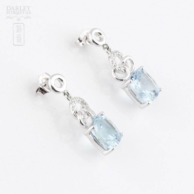 4.54克拉海蓝宝石配钻石18K白金耳环 - 3