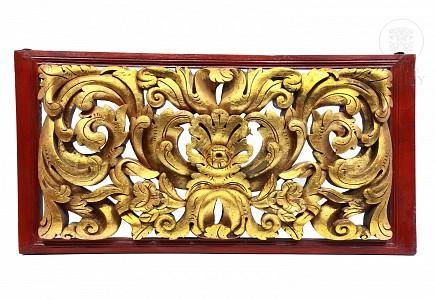Dintel de madera tallada con roleos de acanto, Bali, Indonesia, s.XX
