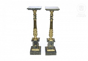 Pair of green marble pedestals, 20th century