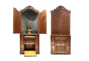 Walnut cabinet-chapel, 20th century
