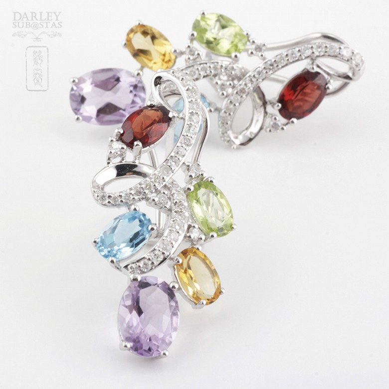Fantastic 18k white gold earrings with semiprecious gems and diamonds - 5