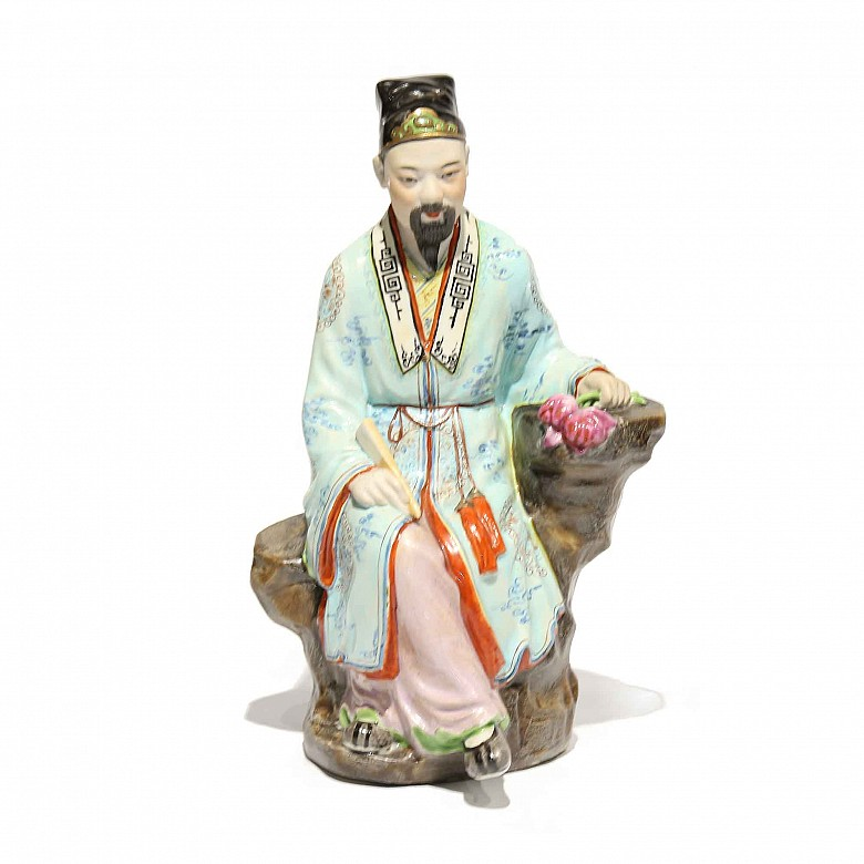 Chinese porcelain glazed emperor figure, 20th century.