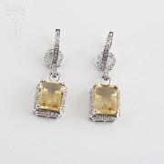 Pendientes largos con citrino 6.34cts y diamantes en oro blanco - 3