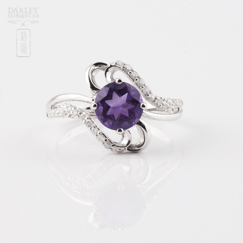 6.33克拉天然紫晶配0.20克拉钻石18K白金戒指