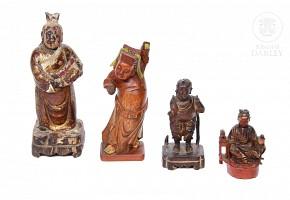 Lote de esculturas de madera tallada, Asia, ffs.s.XIX-pps.s.XX