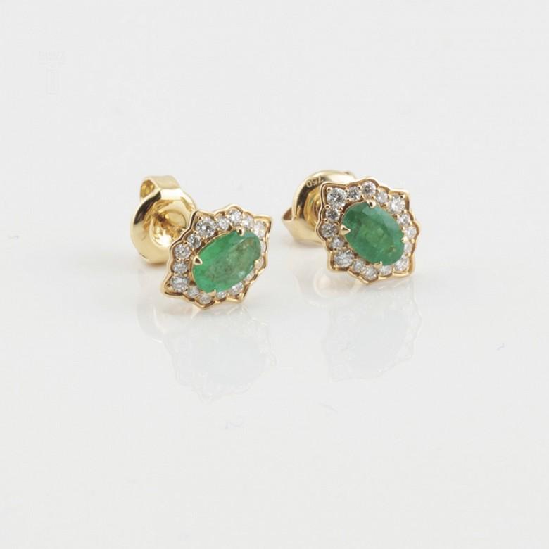 18k gold earrings, emerald and diamonds - 4