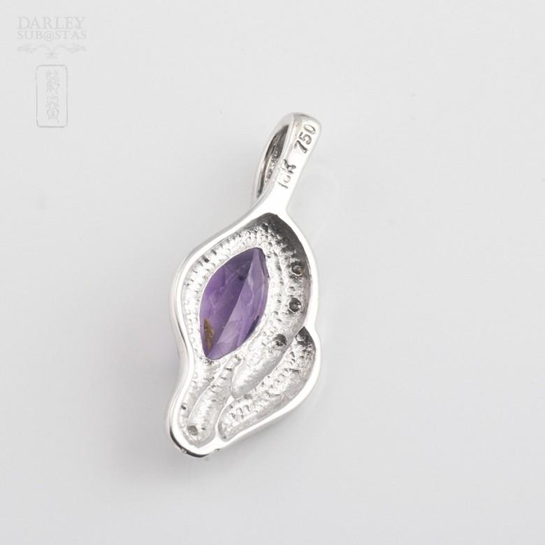 0.90克拉天然紫晶配钻石18K白金挂坠 - 1