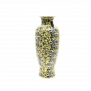 Large chinese porcelain vase, famille yellow with blue and white peonies, 20th century