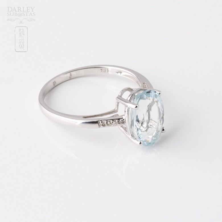 2.18克拉海蓝宝石配钻石18K白金戒指 - 2