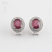 Earrings with Ruby 6,28cts  and diamonds in White Gold