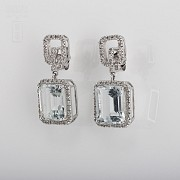 Earrings with aquamarine 6.45cts and diamond  in white gold - 3