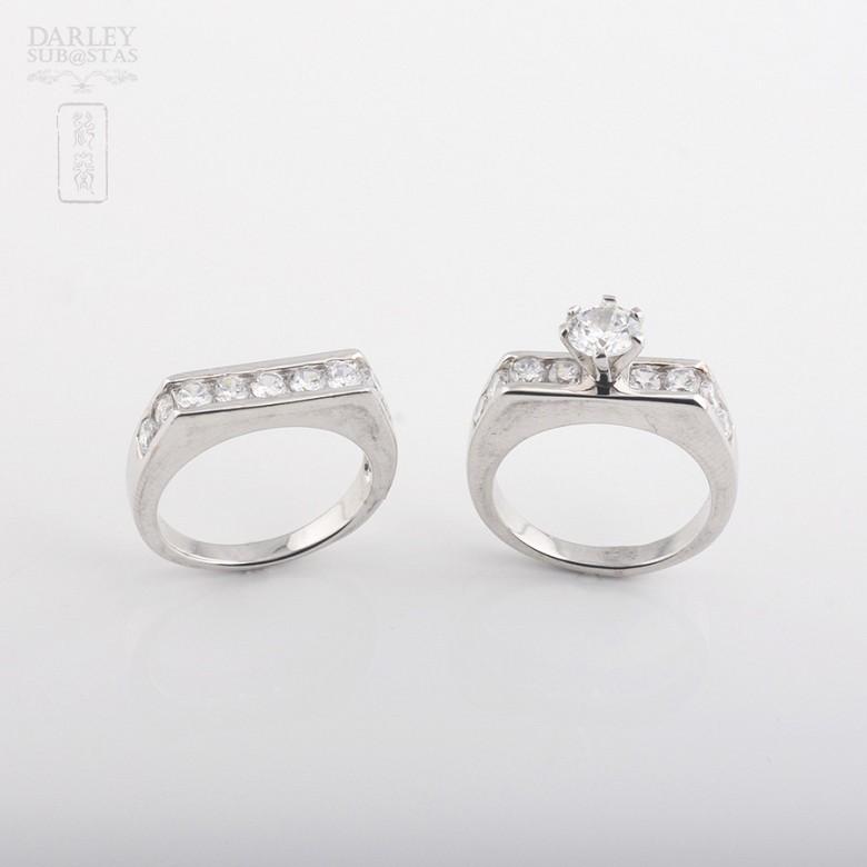 925银配锆石镀白金戒指