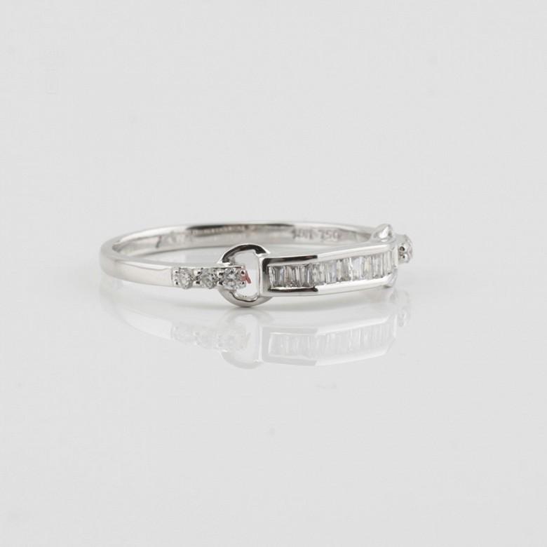 18K白金钻石戒指 - 3
