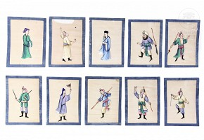 Lot of ten drawings painted on tracing paper.