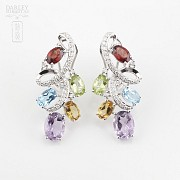 Fantastic 18k white gold earrings with semiprecious gems and diamonds - 4