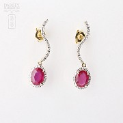 Earrings ruby and 2.18cts diamond in 18k yellow gold