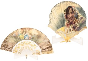 Two signed painted fabric fans.