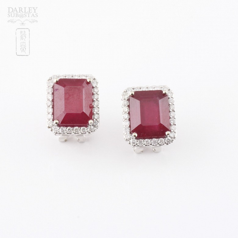 earrings with ruby 14.13cts and diamond 18k - 3