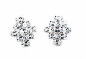 Pendientes en oro blanco de 18k diamantes y aguamarinas.