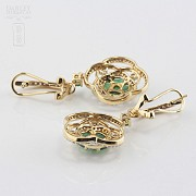Precious emerald and diamond earrings - 3