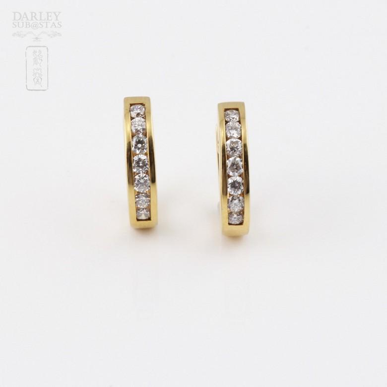 pendientes diamantes 0.55cts en oro amarillo de 18k - 1