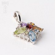 Pendant in 18k white gold with 5 colors mixo Total 5.24 cts - 1