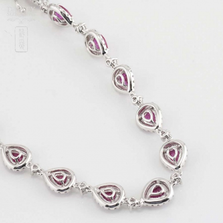 18k white gold bracelet with rubies and diamonds. - 7