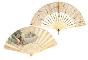 Two fans with carved bone linkage, fainted fabric.