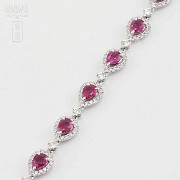 18k white gold bracelet with rubies and diamonds. - 11