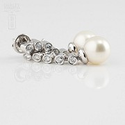 Earrings with diamonds and Australian pearl 0.70cts - 3