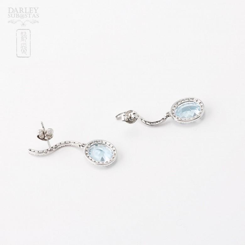 Aquamarine Earrings in 18k white gold and diamonds - 1
