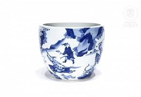 Blue and white porcelain flowerpot, 20th century