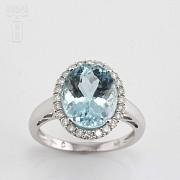 4.28克拉天然海蓝宝石配钻石18K白金戒指 - 4