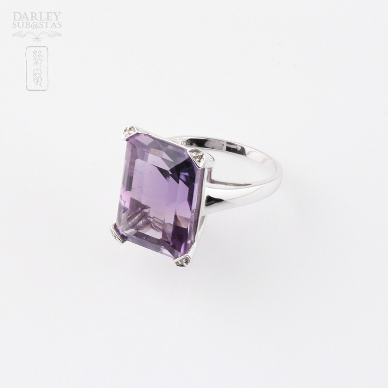 ring with 17.94 cts amethyst diamonds and 18k white gold - 3