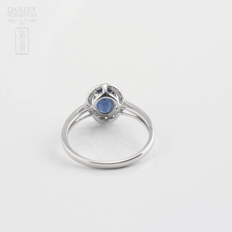 0.93克拉天然蓝宝石配钻石18K白金戒指 - 2